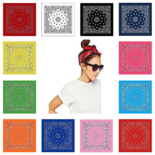 Classic Paisley Bandana (Classic Paisley Bandana Pattern, 12 Piece 100% Cotton Premium Bandannas Black)