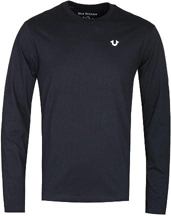 True Religion Camiseta de Manga Larga con Cuello Redondo Negra