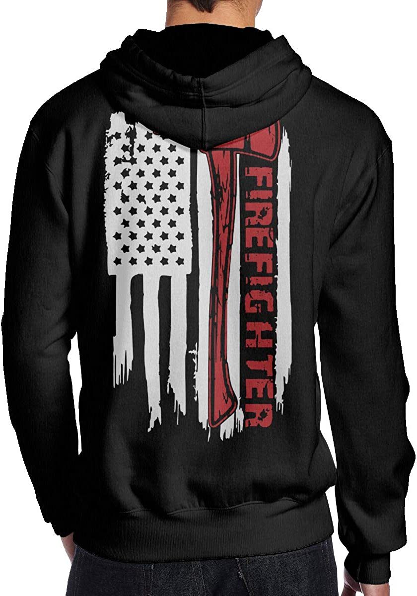 THEBUONUINV Firefighter Flag Mens Hoodie Hooded Sweatshirt