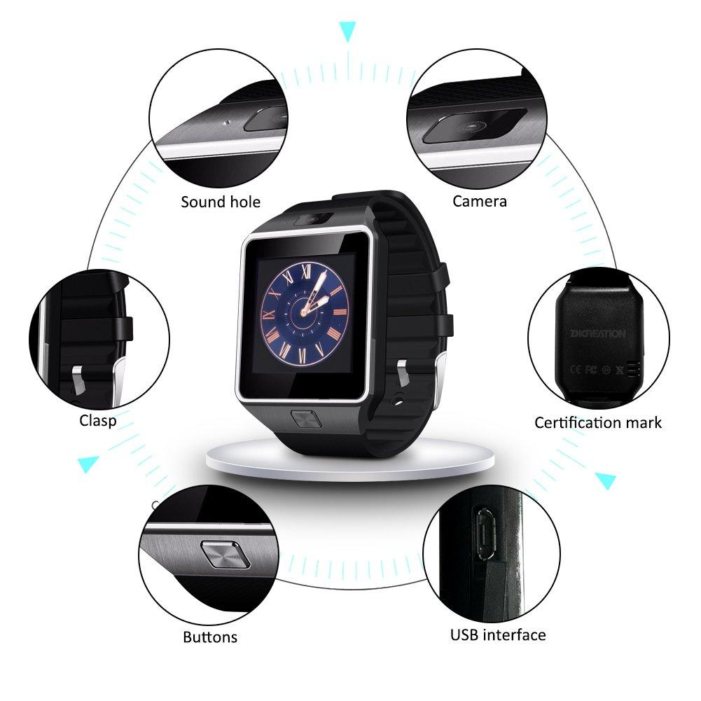 smartwatch ZKCREATION Bluetooth Reloj Inteligente DZ09 smartwatch sim Rastreador Fitness smartwatch Hombre Pulsera Actividad Inteligente whatapp ...