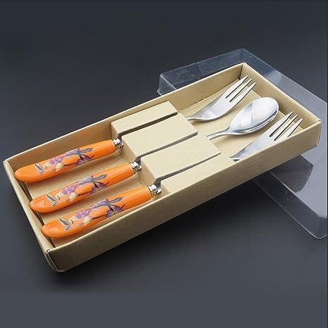 Juego de cubiertos de cuchara tenedor cerámica acero inoxidable y mango plateado utensilios de cubertería cubiertos