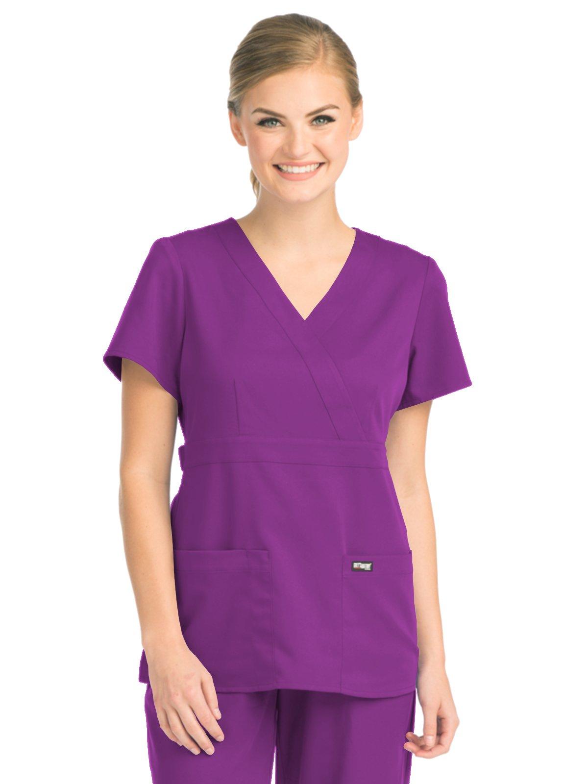 Grey's Anatomy 4153 Women's Mock Wrap Top Very Berry XXS