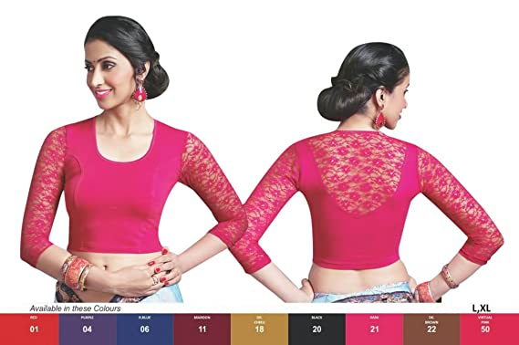 cc799ff34e1243 Amazon.com  Designer Crope Top Women Choli Indian Lycra Stretchable Ready  to Wear Saree Blouse Wedding Party Wear Best Match for Saree By thnic  Emporium  ...