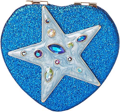 Heart Glitter Blue (Betsey Johnson Women's Star Blue Ombre Glitter Heart Compact in a Betsey Johnson Pouch Blue One Size)