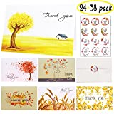 Thank You Cards Multipack, 24 Count 6 Designs Greeting Cards - Envelope + Thank You Sticker + Alphabet Sticker Perfect for Wedding Graduation Bridal Baby Showers Birthdays Christmas Themed Parties