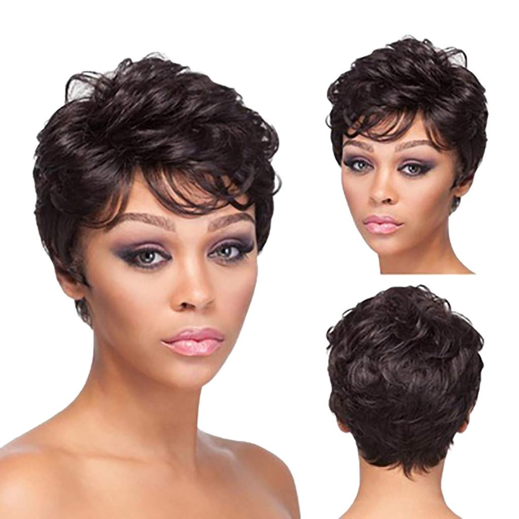 Hot Sale! Synthetic Wigs,Women Fashion Cool Short Curly Hairpiece Black Natural Hair Extensions for Cosplay Party Wig (Black)