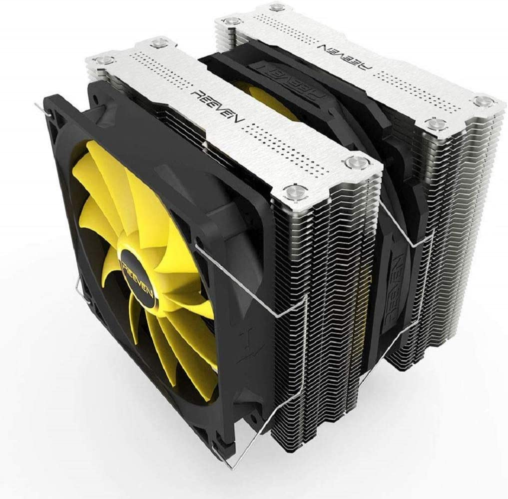 Reeven Okeanos 140mm Air CPU Cooler, Twin Heatsinks/PWM Fans with 6 Heatpipes, Intel LGA1151, AMD
