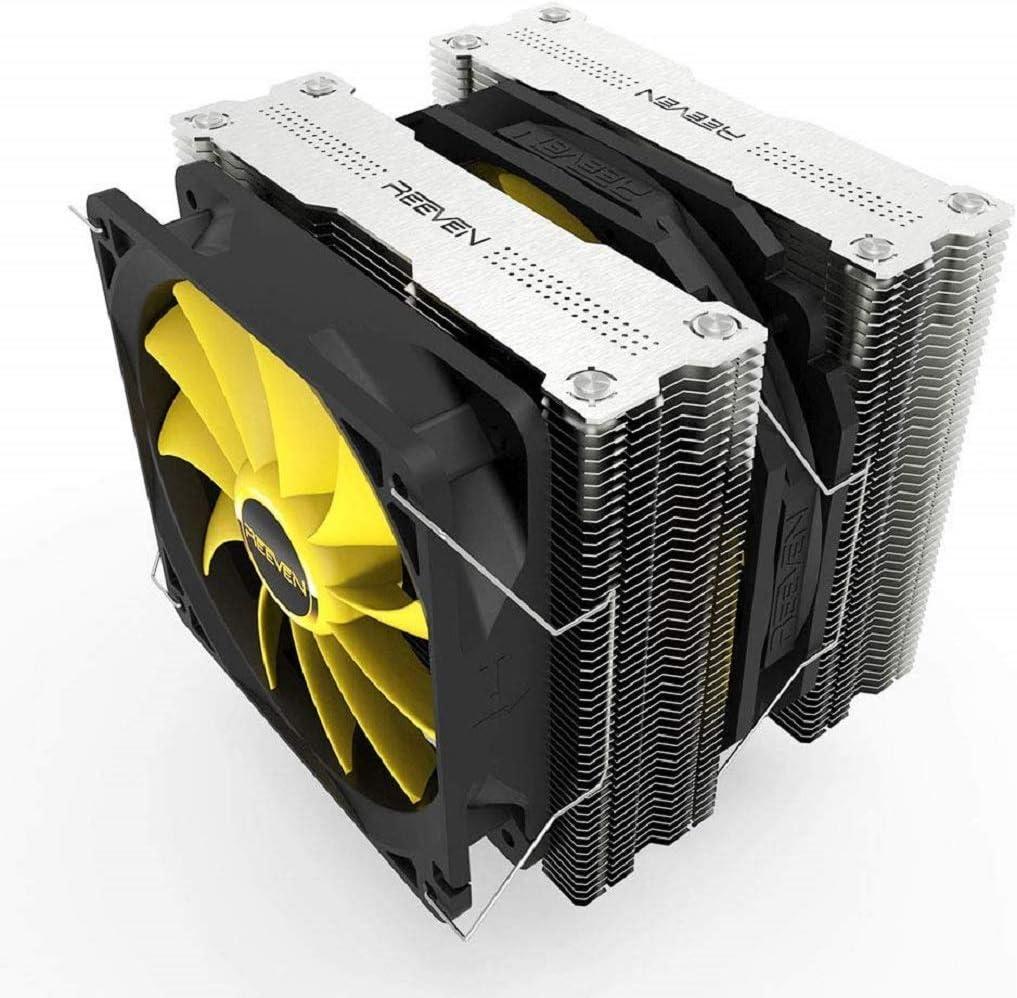 Reeven Okeanos 140mm Air CPU Cooler, Twin Heatsinks/PWM Fans with 6 Heatpipes, Intel LGA1151, AMD
