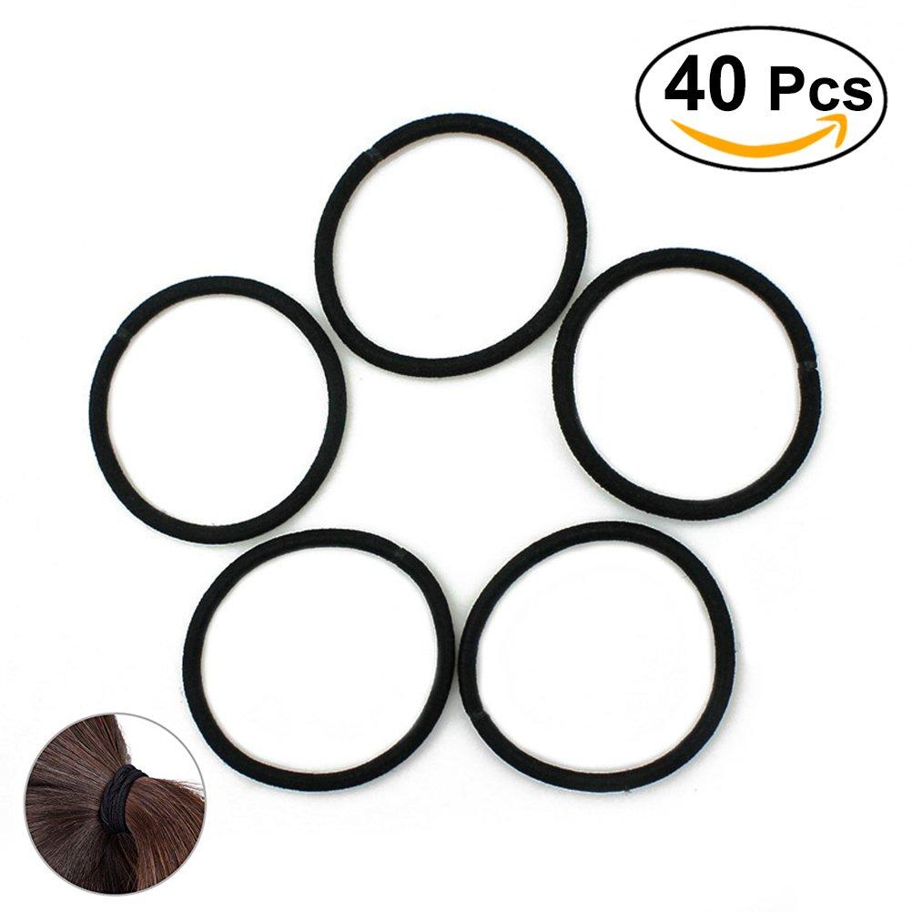 Frcolor Elastici capelli legami capelli fasce fermacapelli per Bulk, pacco di 40 (nero)