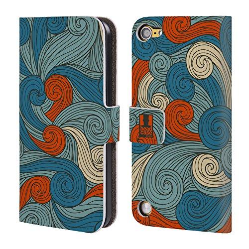 Head Case Blue And Orange Vivid Swirls Cover telefono a portafoglio in pelle per Apple iPod Touch 5G 5th Gen / 6G 6th Gen