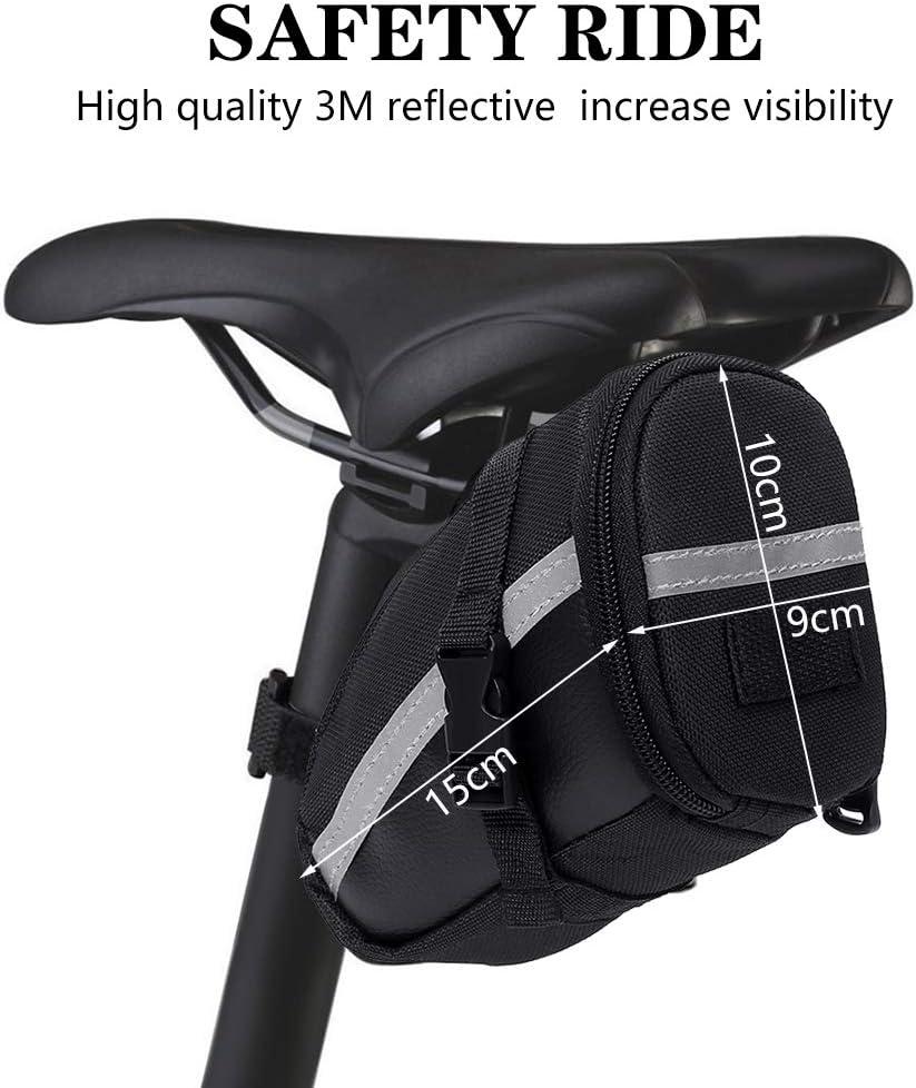 Bike Saddle Bag Wedge Pack fidget pencil Bike Bag Under Seat with Reflective Stripe Bicycle Bag Capacity of 1.2L Bike Pouch