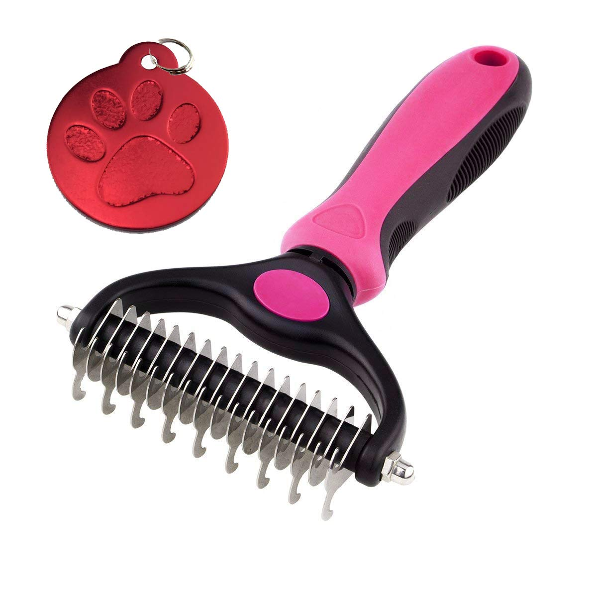 TinyPaw Professional Pet Dematting & Grooming 2 Sided Extra Wide Undercoat Rake for Easily Remove Cats & Dogs Loose Hair - Safe Dematting & Deshedding Comb for Easy Mats & Knot Removing