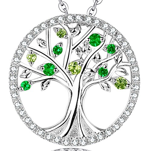 Mothers Day Anniversary Gifts For her wife Mom Emerald and Green Peridot The Tree of Life Love Necklace Jewelry Birthstone necklace Pendant Sterling Silver - 20