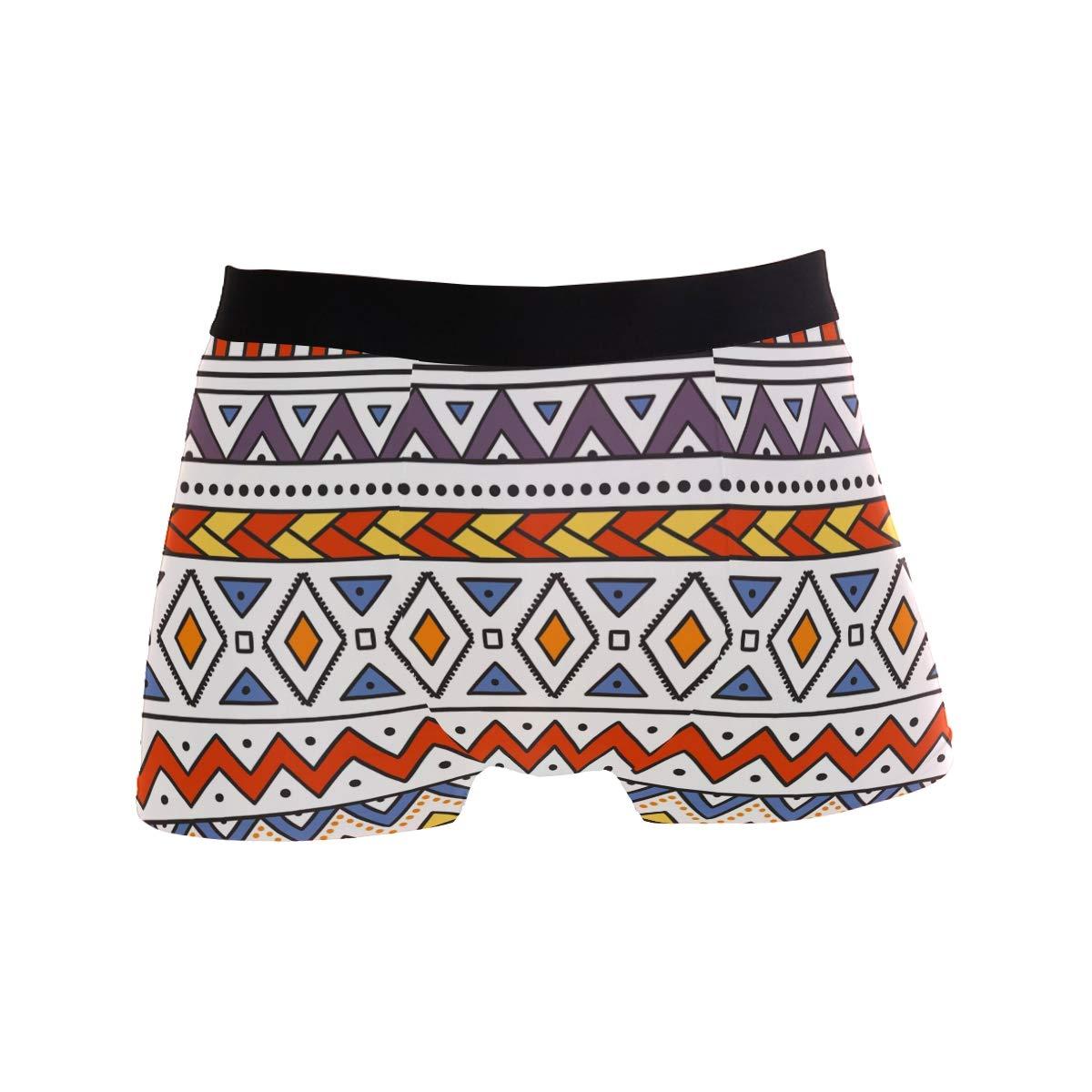 Multi ZZKKO Colorful Ethnic Graphic Mens Underwear Boxer Briefs Breathable