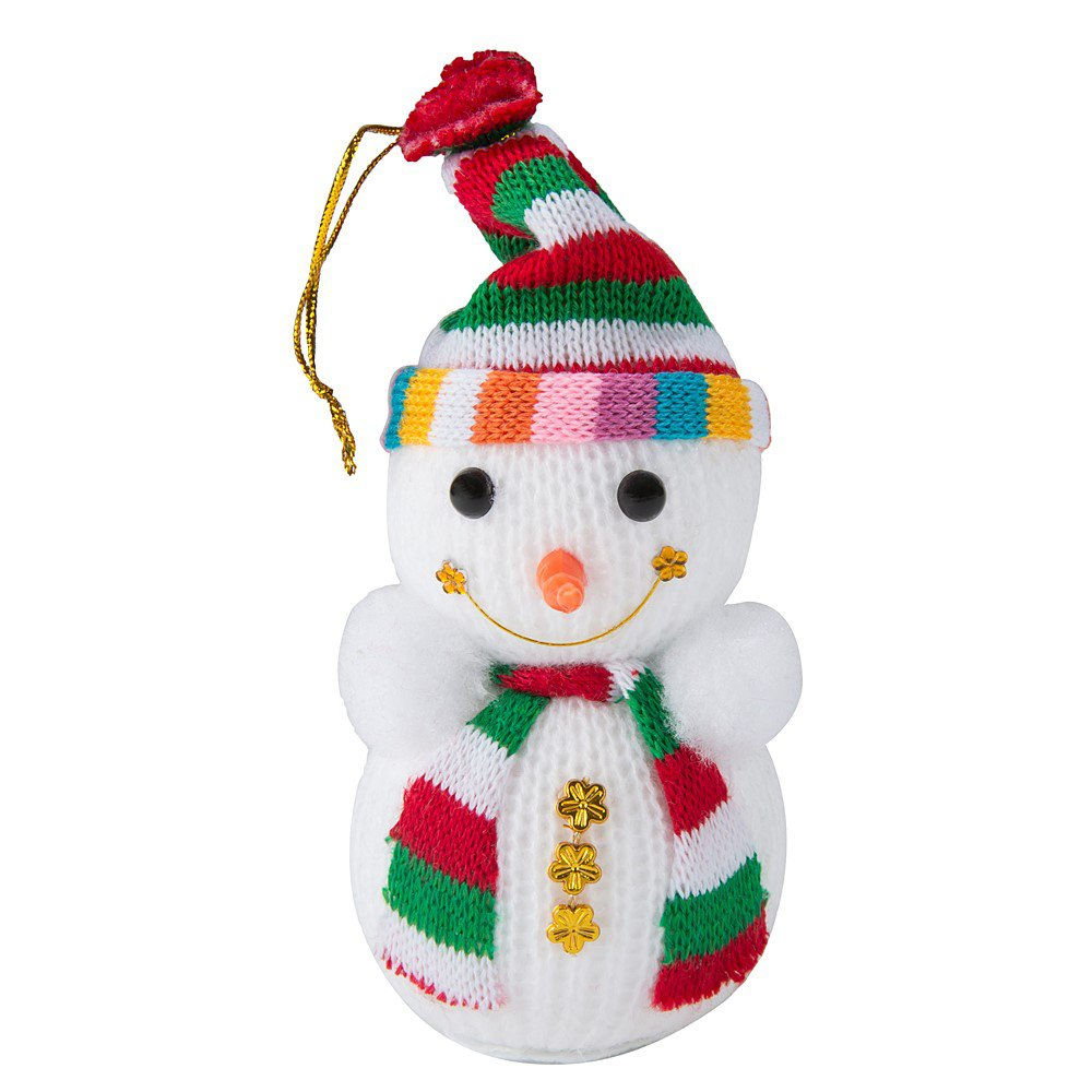 Amazon.com: Lovely Hand-Knitted Xmas Snowman with Scarf & Hat for ...