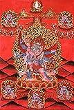 Six-Armed Winged Mahakala in Yab Yum - Tibetan Thangka Painting