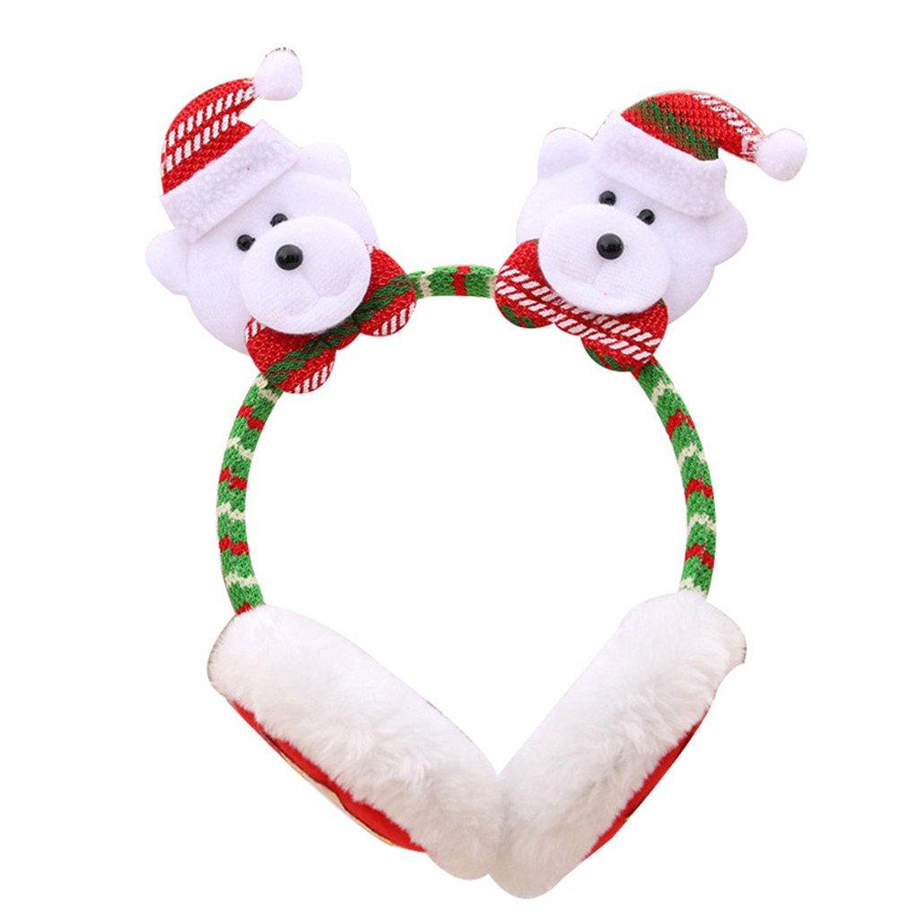 dragonaur Christmas Santa Snowman Deer Bear Earmuffs Headband Ear Warmers for Kids Adults