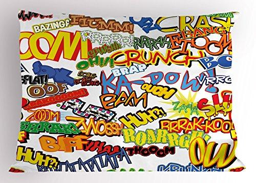 Ambesonne Superhero Pillow Sham, Retro Comic Book Expressions Humor Icons Cartoon Scream Crash Pow Vintage Design, Decorative Standard Size Printed Pillowcase, 26 X 20 inches, Multicolor - Home Expressions Standard Sham