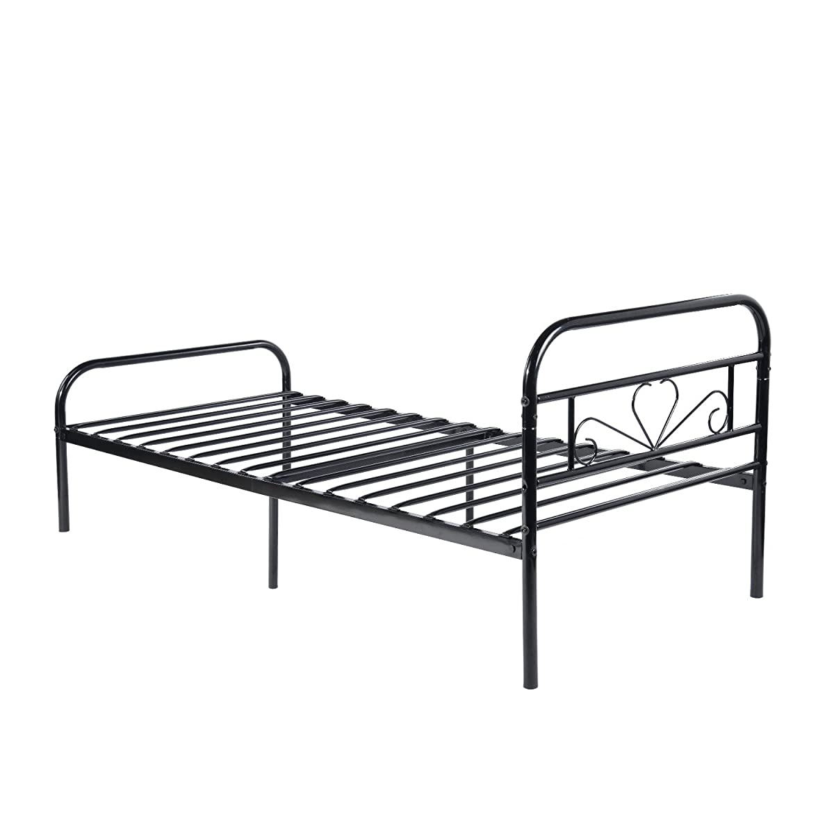 Green Forest Twin Bed Frame Metal Platform Mattress Base Black Bed with Vintage Headboard Box Spring Replacement, Twin