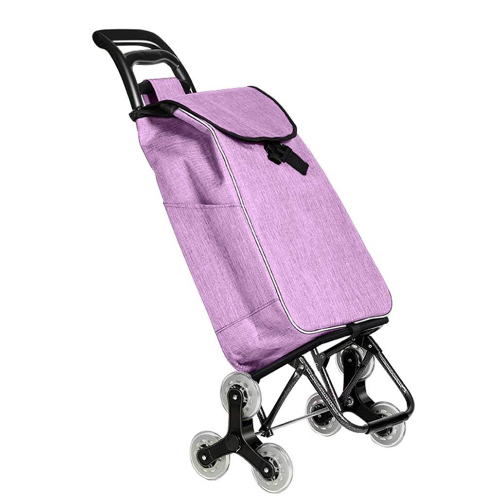 Zehaer Portable Trolley, Stair Climbing Lightweight Foldable Shopping Travel Grocery Cart 2 Wheels Oxford Cloth Mobile Cart Capacity 39L A+