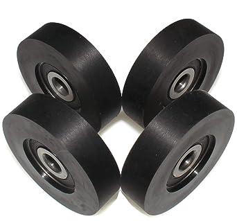 Pack de 4 rodillos de goma rígida para rueda de poliuretano fabricado en la UE, 23 mm Diameter - 10 mm Wide, 4