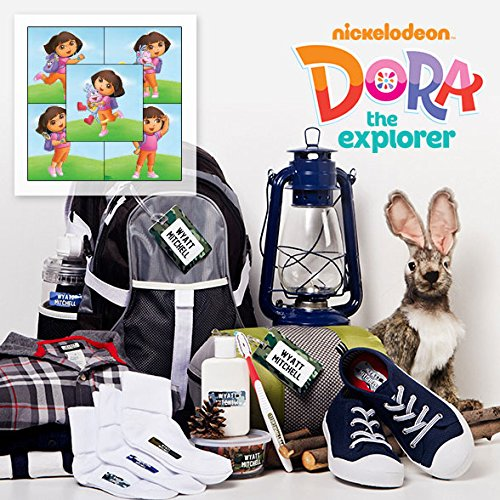 Dora The Explorer Personalized Camp Package includes Stick-on, Iron-ons & Bag Tags for Kids Waterproof & Laundry Safe - Dora The Explorer Flip Flops