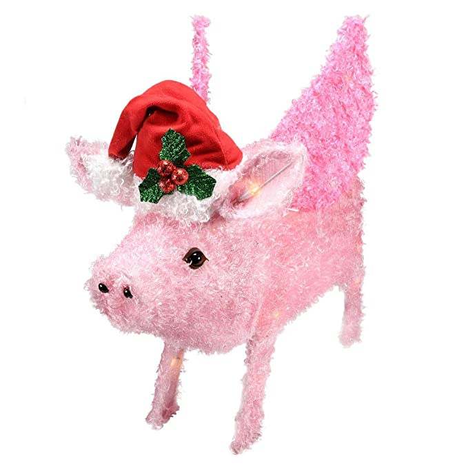 - Holiday Time Flying Pig Yard Décor €� Light Up Piggy Christmas Decoration