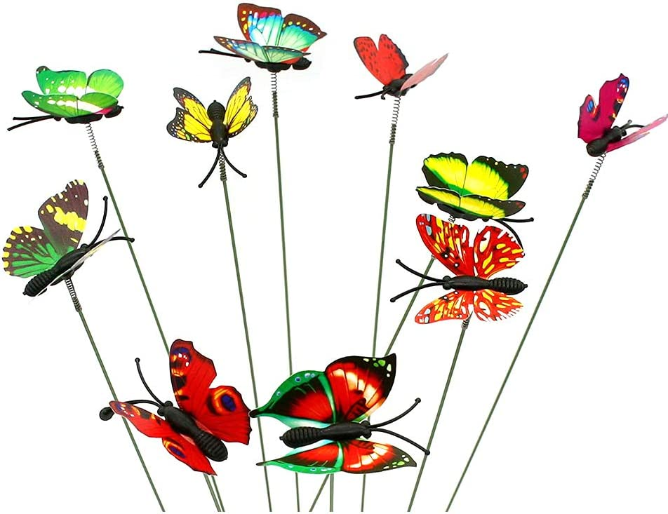 Garden Butterflies Stakes Set,Garden Butterflies Dragonflies Stakes,Ladybug Bee Ornaments on Sticks Garden Ornaments for Patio Plant Garden Party Lawn Yard Decoration Miniature Fairy Garden 10pcs