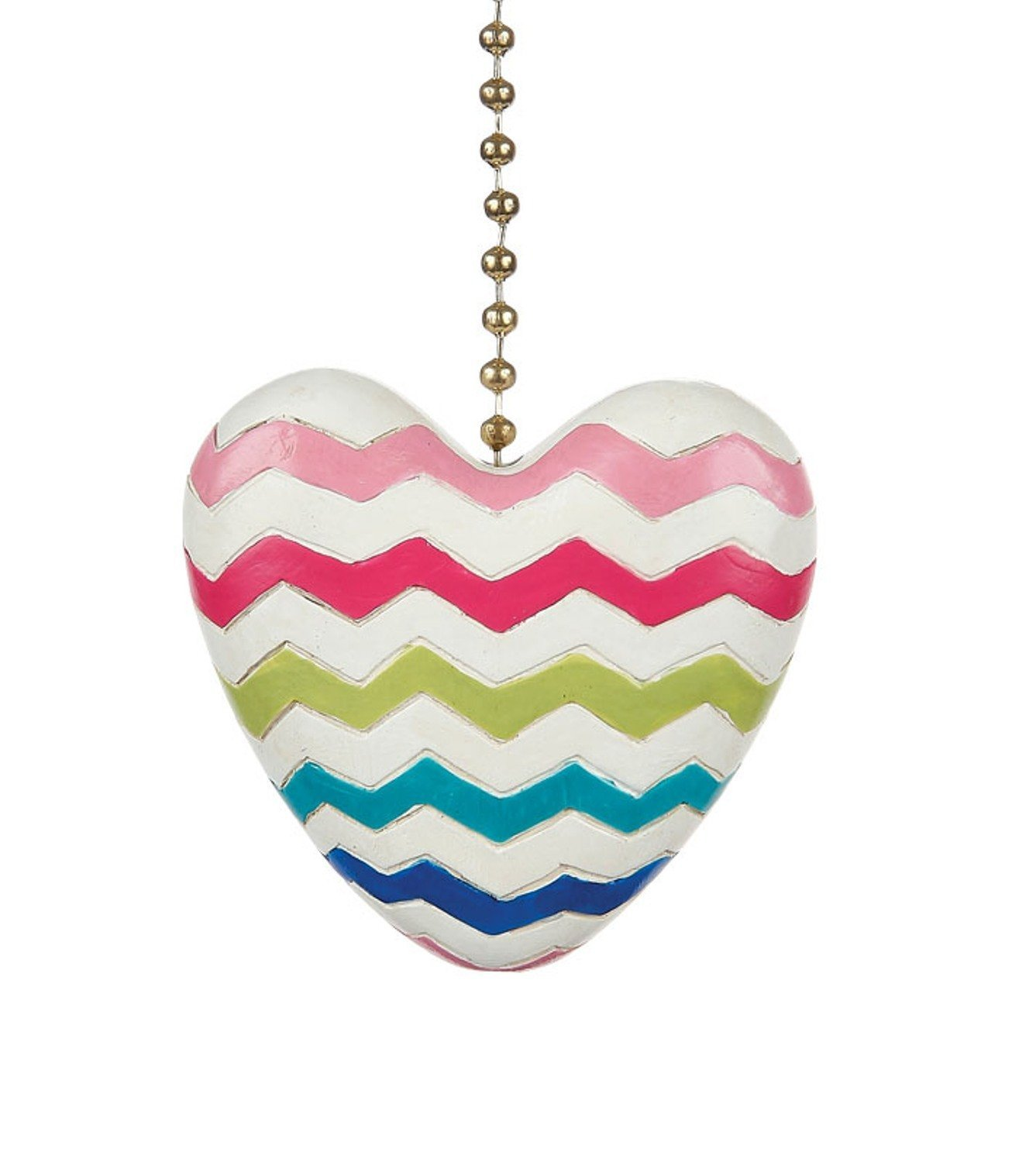 Clementine Designs Colorful Chevron Heart Decorative Ceiling Fan Light Dimensional Pull