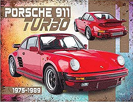 Porsche 911 Turbo steel large sign 400mm x 300mm (og)