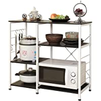 Soges Multi-layers Kitchen Baker's Rack Utility Microwave Oven Stand Storage Cart Workstation Shelf Coffee Cart, Black…
