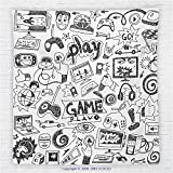59 x 59 Inches Video Games Fleece Throw Blanket Black and White Sketch Style Gaming Design Racing Monitor Device Gadget Teen 90s Blanket