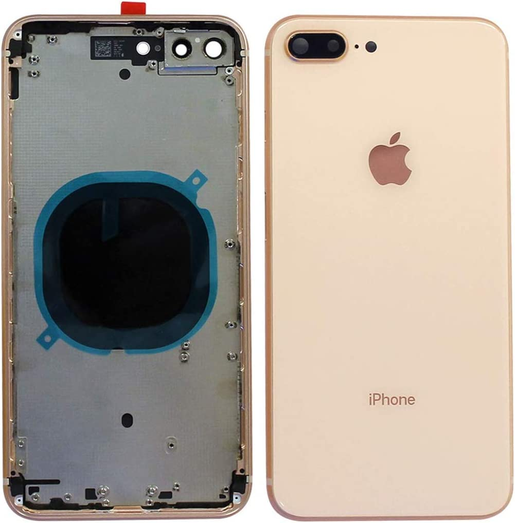 Back Housing Assembly Metal Frame w/Back Glass(OEM) - Camera Frame and Lens for iPhone 8 Plus (Gold) 61pxMCPAcEL