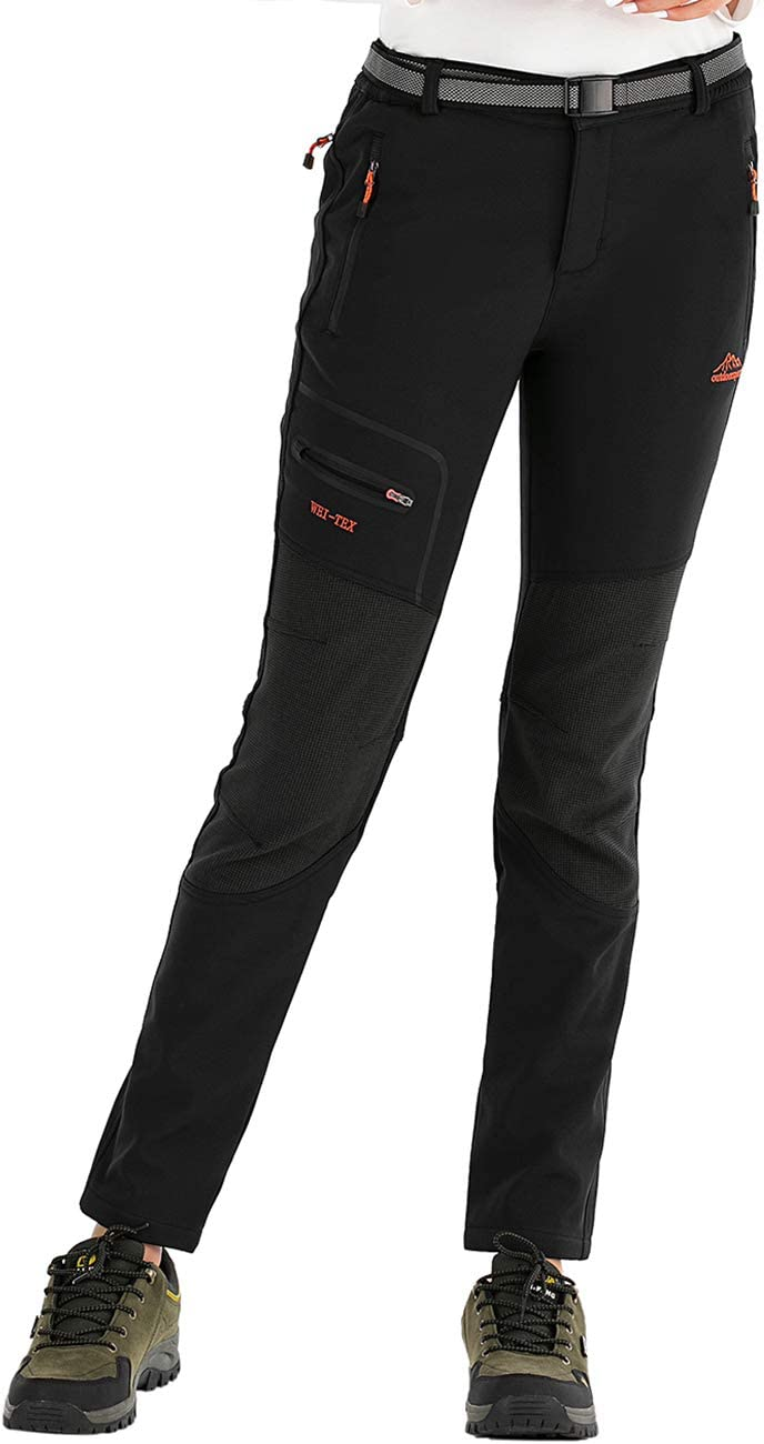 DENGBOSN Pantalones de Montaña Mujer Impermeables Invierno Calentar Pantalones Trekking Escalada Senderismo Softshell