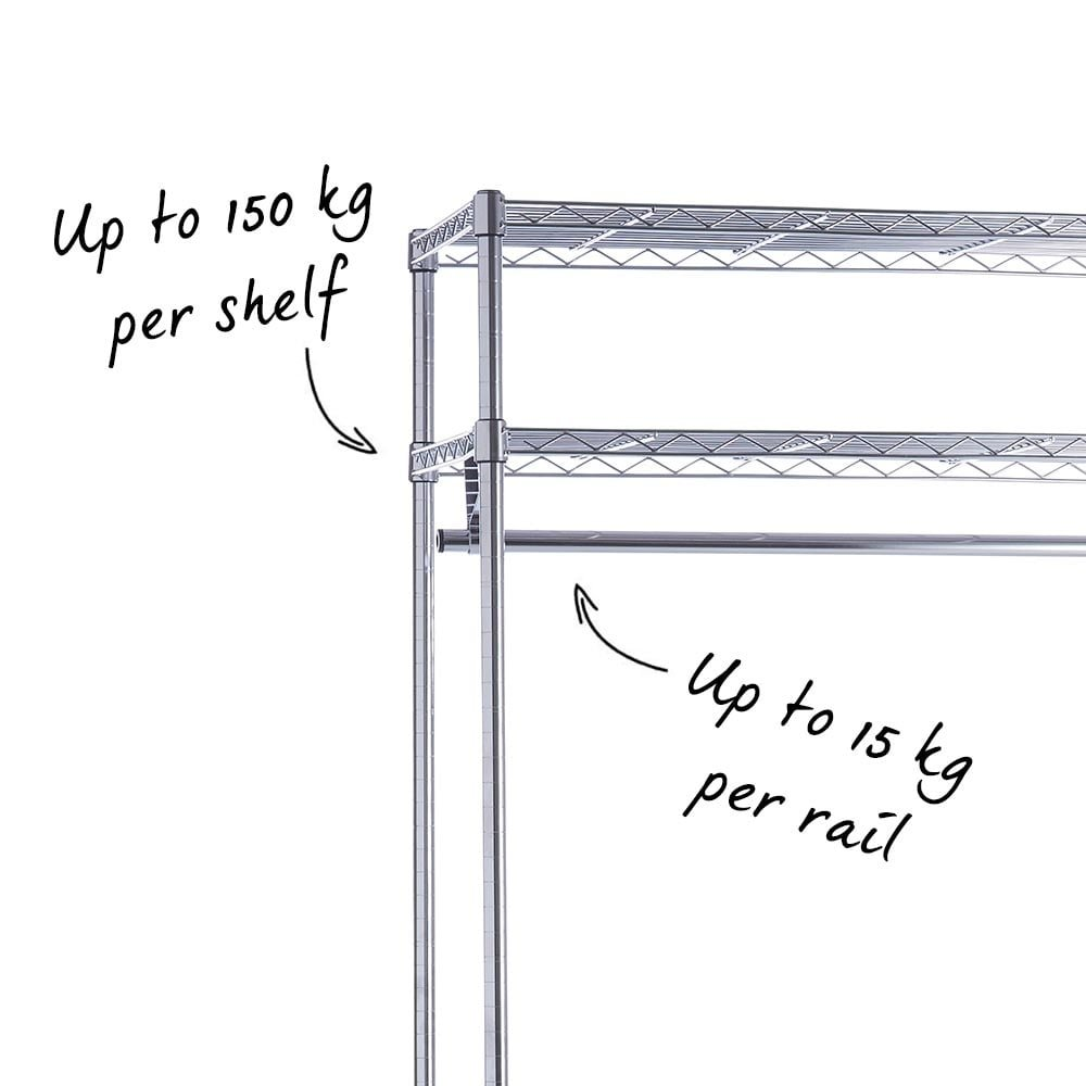 Chrome Wire Clothes Rack - 900 mm Wide Open Bay. Ideal for long ...