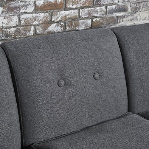 Milltown Mid Century Modern Navy Blue Fabric 5 Piece Sectional Sofa Set (Dark Grey)