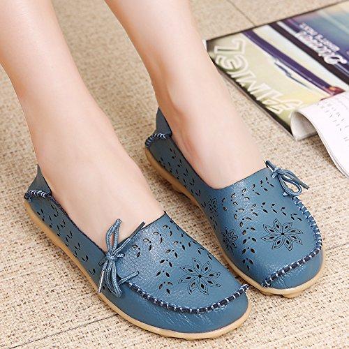 Vrouw Lente Herfst Comfortabele Slip-on Beanie Flats Rijden Zapatos Schoenen Lichtblauw