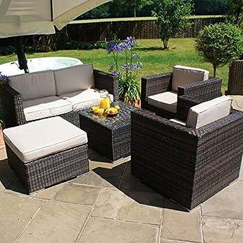 Ratán sofá de dos plazas juego de muebles de jardín en invernadero ...