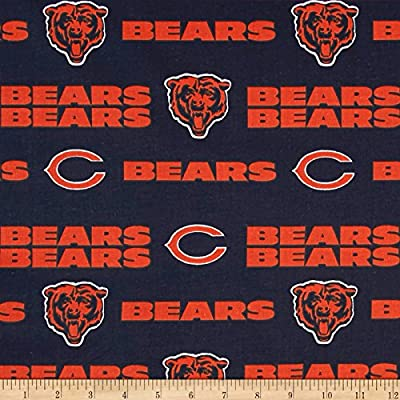 NFL Cotton Broadcloth Chicago Bears Orange/Navy Fabric By The Yard