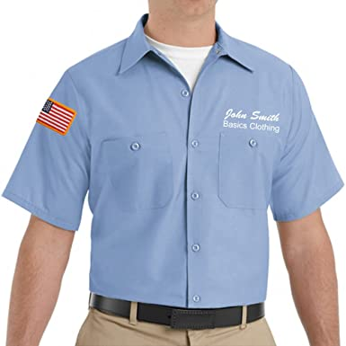 b8007b64b2a1 Red Kap Custom Men's SP24 Short Sleeve Industrial Solid Work Shirt with  Name Embroidery and American