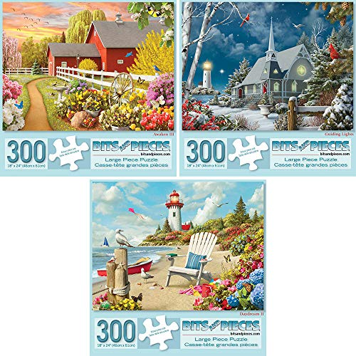 (Bits and Pieces - Value Set of Three (3) 300 Piece Jigsaw Puzzles for Adults - Each Puzzle Measures 18