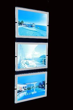 Tablón expositor para publicidad, para vitrinas, con panel de plexiglass, LED luminoso,