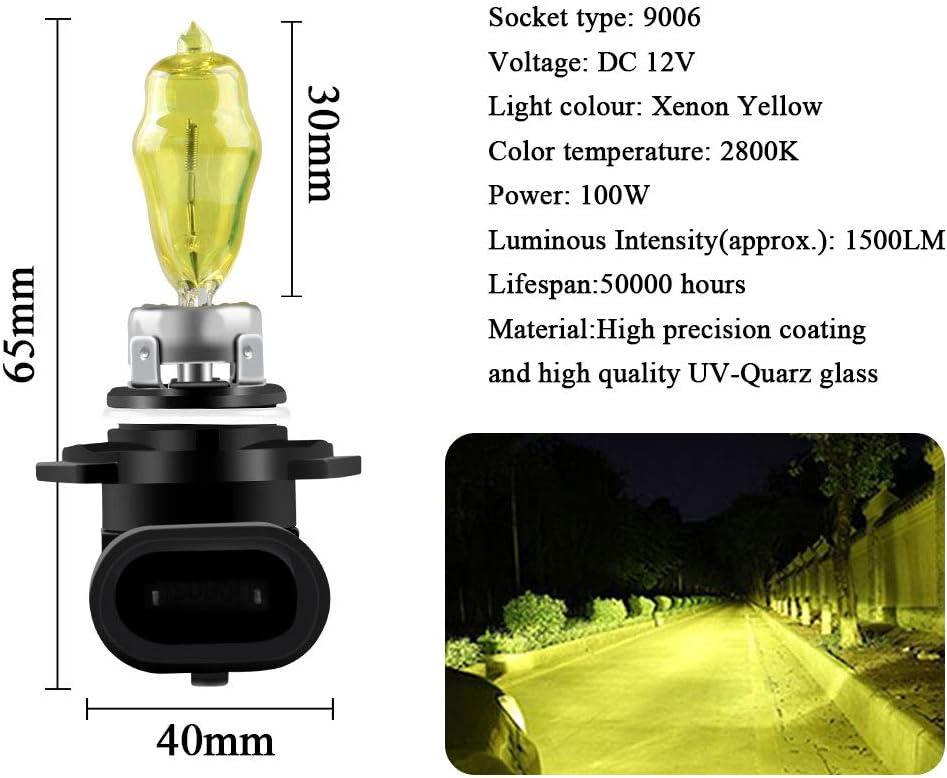 Sidaqi H4 100//90W Halog/ènes Phares Ampoule Jaune 2800K 12V Feux de Brouillard de Voiture DRL 2 pi/èces