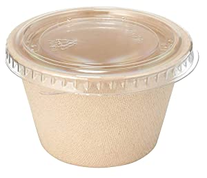 [50 Pack] 4 Oz Compostable Condiment Souffle Bagasse Cups with Lids - Portion Cup with Lid Sugarcane, Biodegradable Perfect for Sauces, Samples, Condiments, Slime, Jello Shot, Food Storage