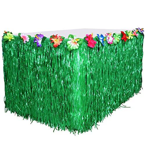 Table Skirt Hawaiian Luau Hibiscus,Lei Garland Grass Table Skirt Green Table Skirt 9ft Party Decorations BROSHAN(Green)