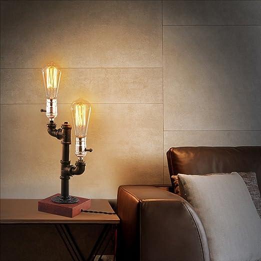 Lámpara de mesa de dormitorio Creativo Edison LED protección para ...