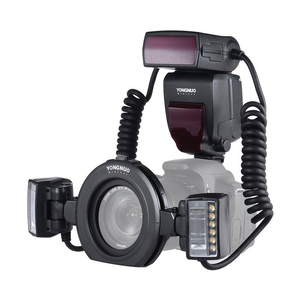 YONGNUO YN24EX E-TTL Macro Flash Speedlite 5600K 2pcs Flash Heads 4pcs Adapter Rings Canon EOS 1Dx 5D3 6D 7D 70D 80D Cameras