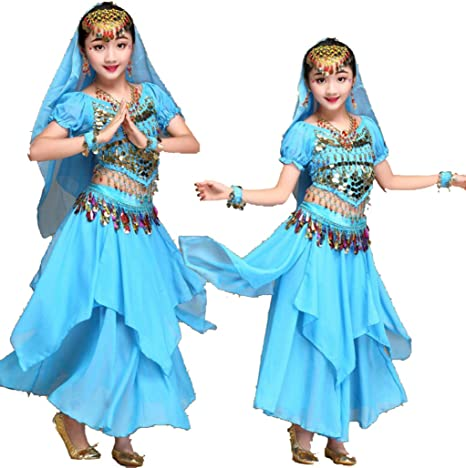 ZYLL Disfraz de Danza del Vientre para niños, Juego de Baile Indio ...