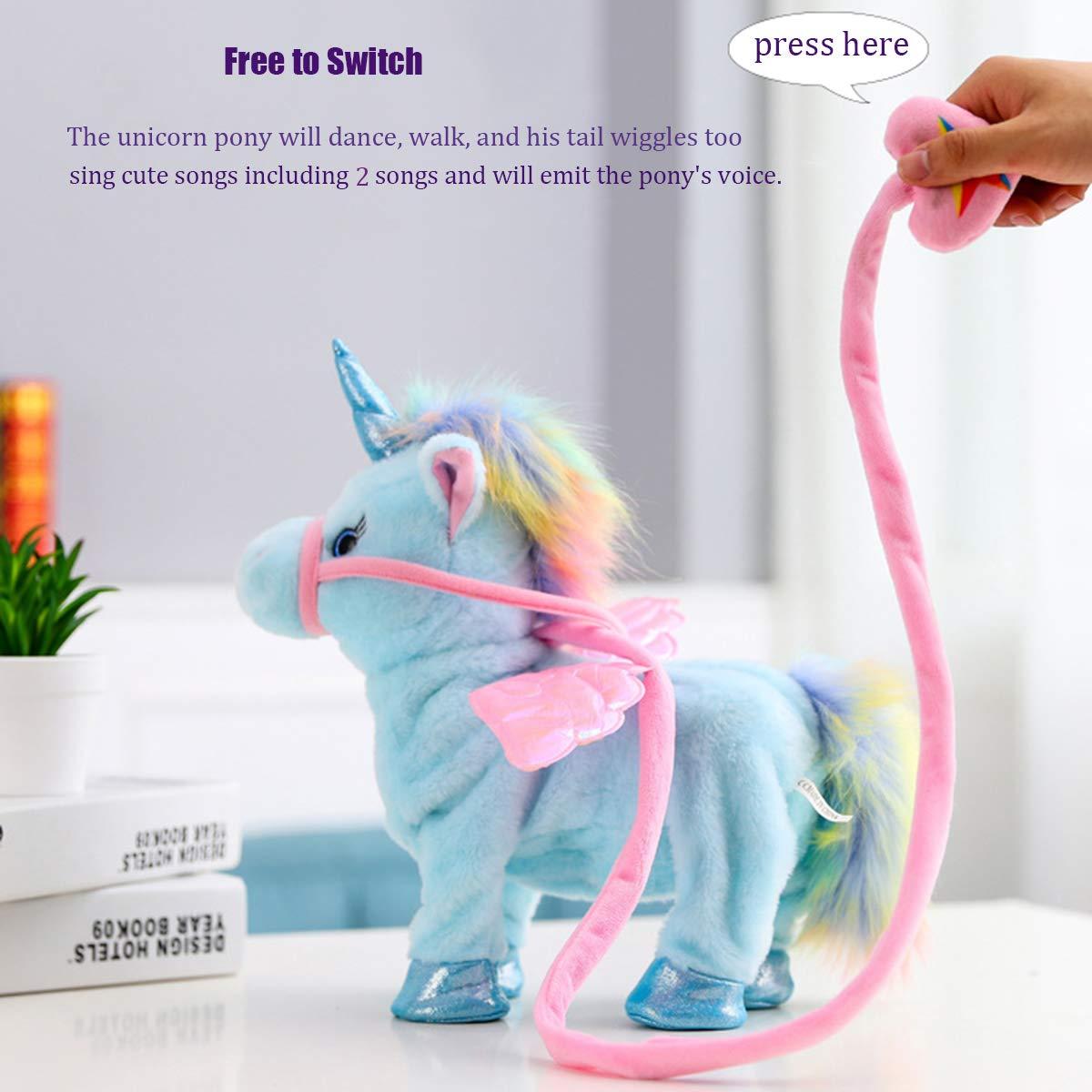 qiaoniuniu Electronic Pet Unicorn - Pink Small Pegasus - Stuffed Unicorn ,Singing Walking Musical Cute Plush Toys for Toddlers Girls Boys,Kids & Pets Birthday by qiaoniuniu (Image #4)