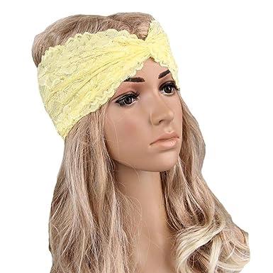 Flyfox® Women Headwear Twist Sport Yoga Lace Turban Headband Turban  Headscarf Wrap (Yellow) b9379eee6bb